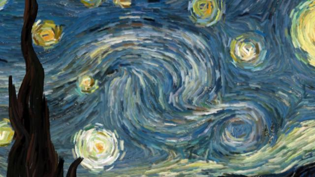 Starry Night de Van Gogh, pero en versión animada e interactiva.