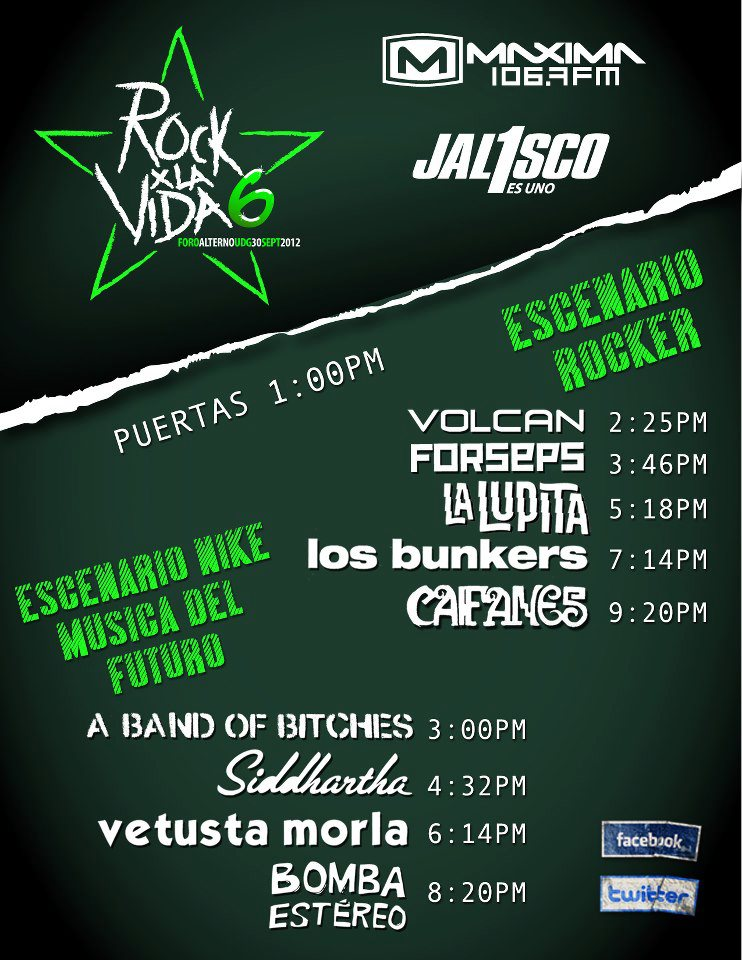 horarios Rock x la Vida - Nine Fiction