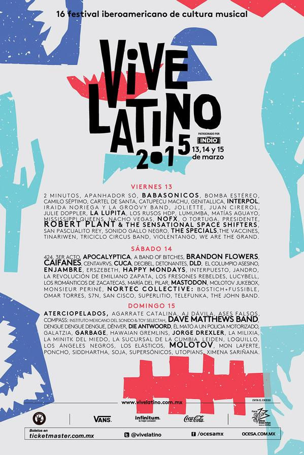 cartel VIVE LATINO 2015 - Foro Sol - Nine Fiction
