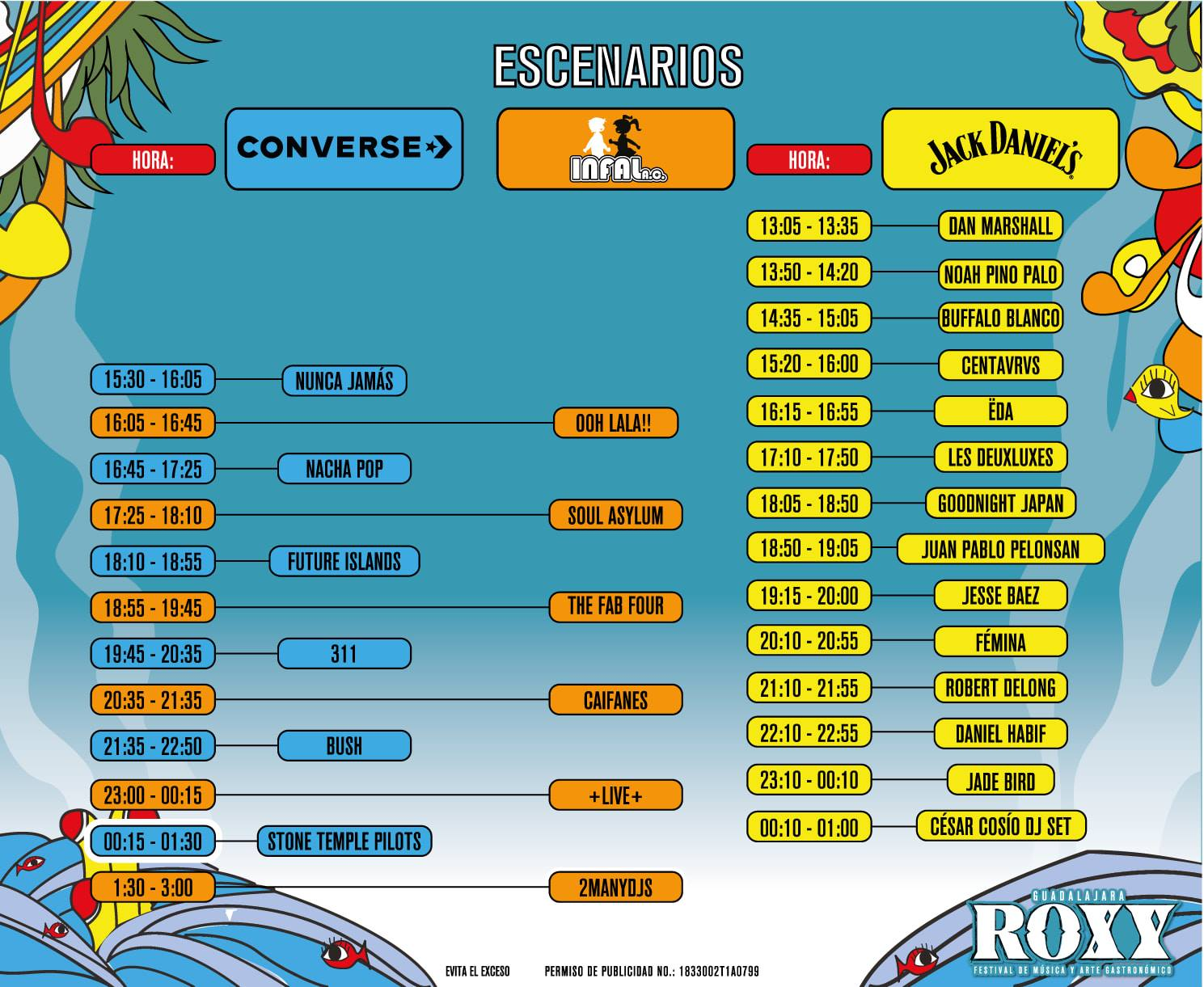 Horarios ROXY FEST 2019 - Nine Fiction